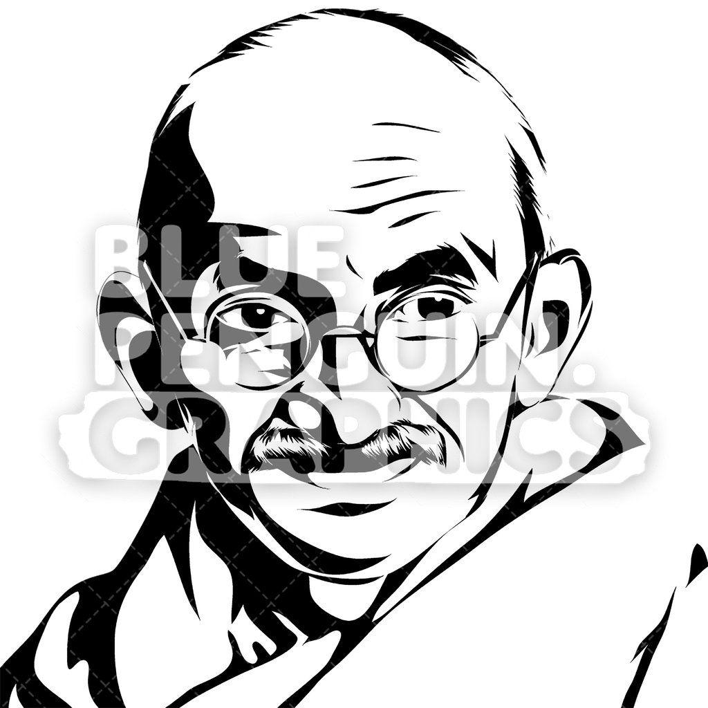 Mahatma Gandhi Face Silhouette.