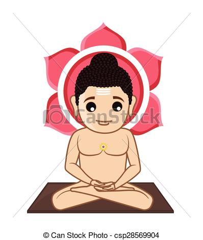 Vector Clipart of Lord Mahavira Cartoon God Vector Illustration.
