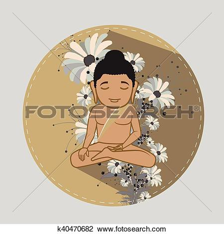 Clipart of Saint Mahavira Doing Meditation k40470682.