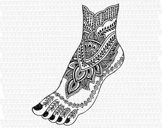Antique Image Mehndi Henna Tattoo Pattern Feet India Vintage Clip.