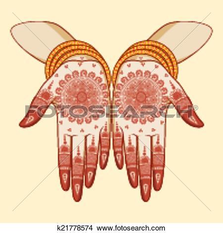 Clip Art of Mehndi Hand design k19996216.