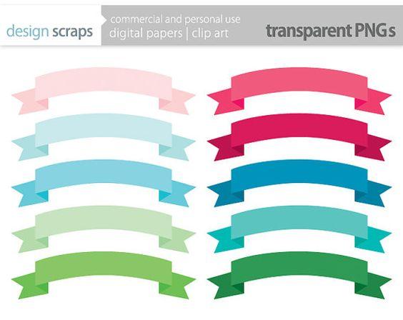 ribbon banner clip art frames labels digital by designscraps.