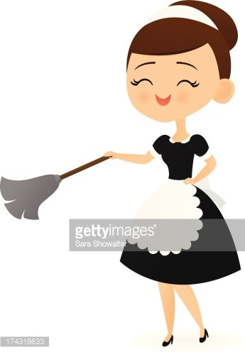 Smiling Maid Clipart Image.