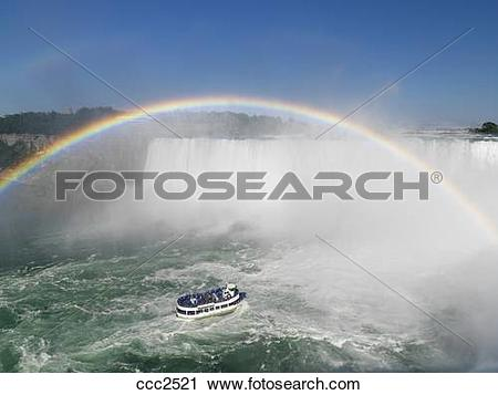 Stock Photography of Maid of the Mist tour boat approaching the.