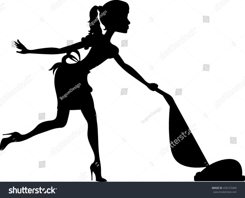 Clip Art Image Silhouette Maid Using Stock Illustration.