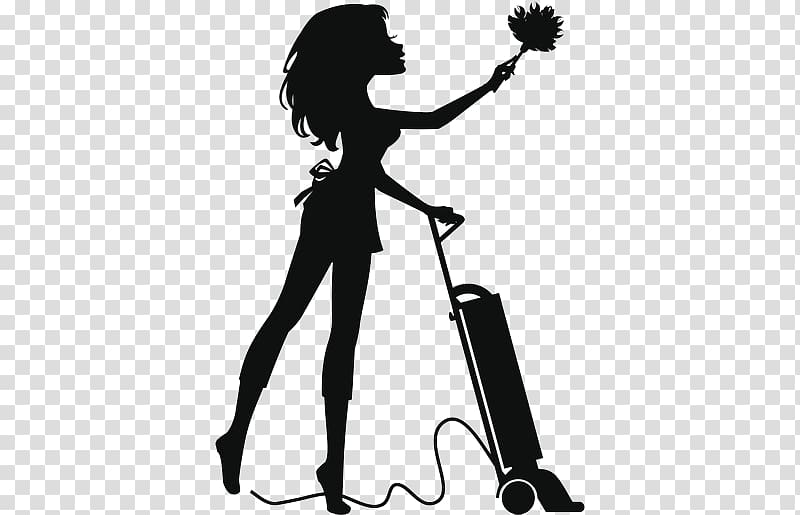 Silhouette woman holding upright vacuum cleaner art, Cleaner.