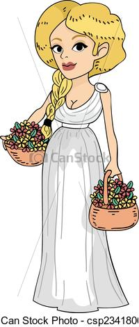 Clip Art Vector of Roman Girl.