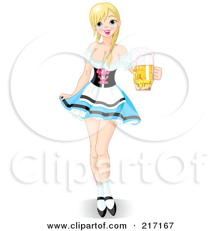 Clipart of a Watercolor Styled Retro Victorian Beer Maiden Holding.