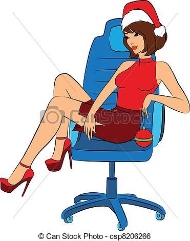 Clip Art Vector of Cartoon woman in suit Snow Maiden csp8206266.