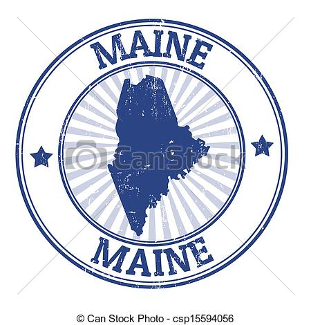 Clipart Vector of Maine stamp.