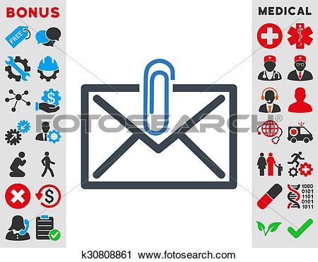 Clipart of Mail Attachment Icon k30808861.