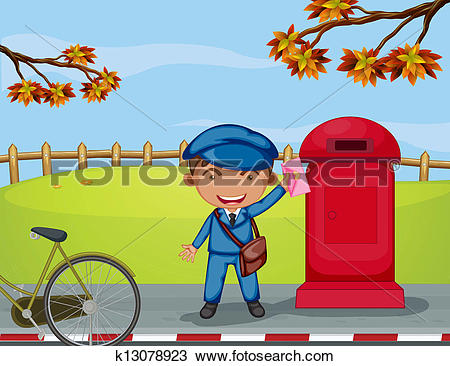 Clipart of A mailboy beside a mail box k13078923.