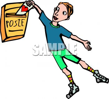 Cartoon of a Boy Putting a Valentine in the Mail.