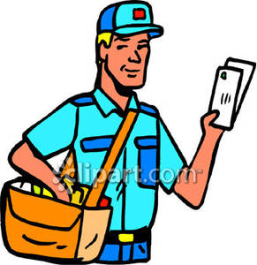 Mail Carrier with a Satchel of Letters Royalty Free Clipart Picture.