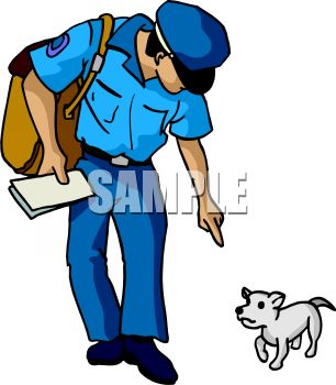 Mail Carrier Talking to a Little Dog.