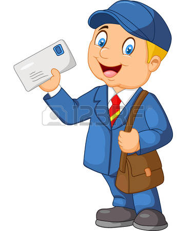 Mail carrier with letter bag clipart.