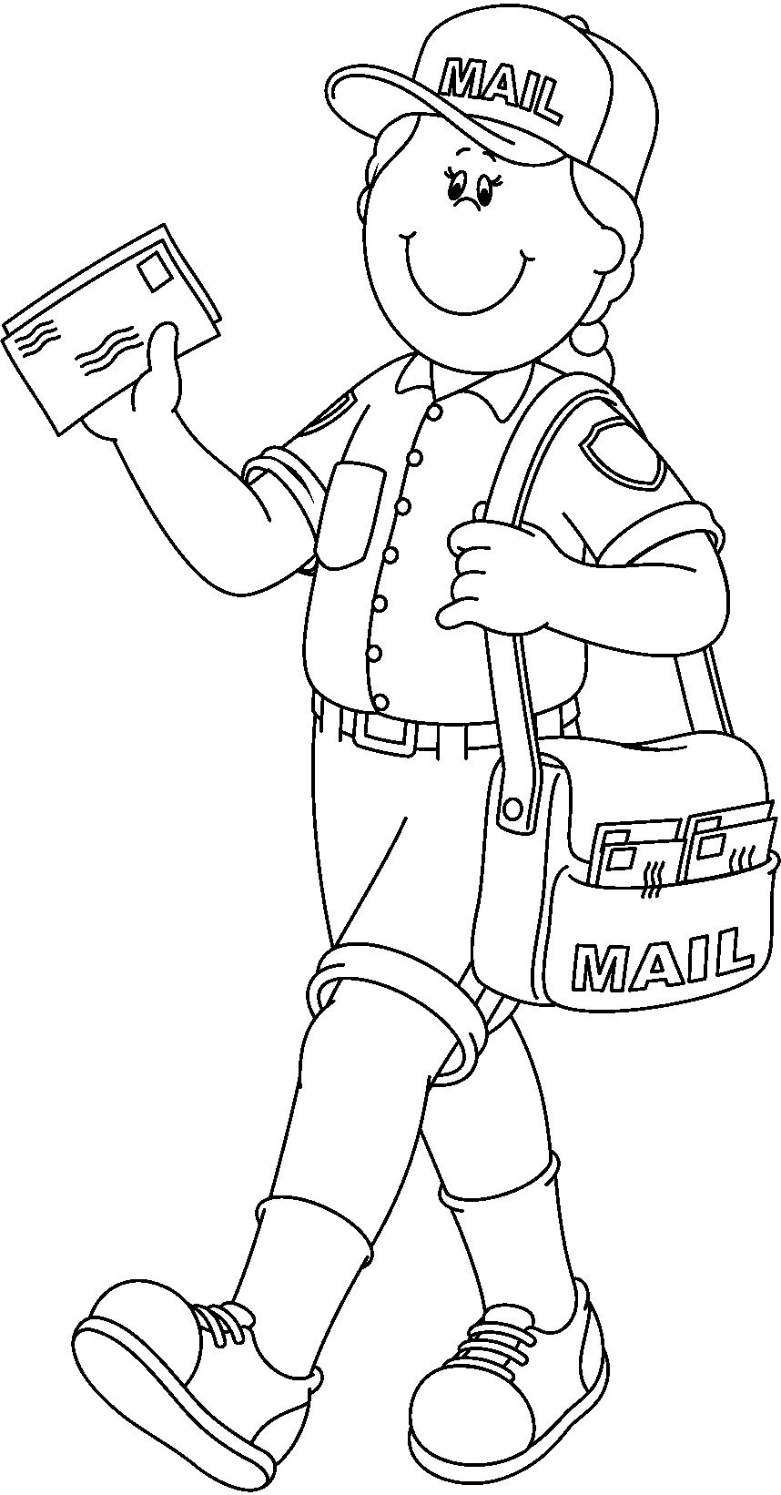 Mail Carrier Clipart Black And White.