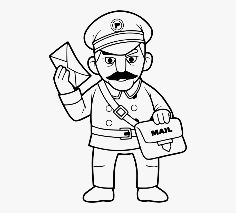 Trend Mail Carrier Black And White Cartoon Cc0.