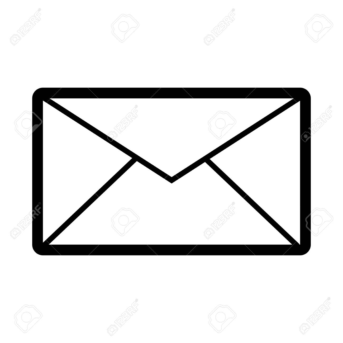 Email Vector Icon. Black And White Mail Illustration.