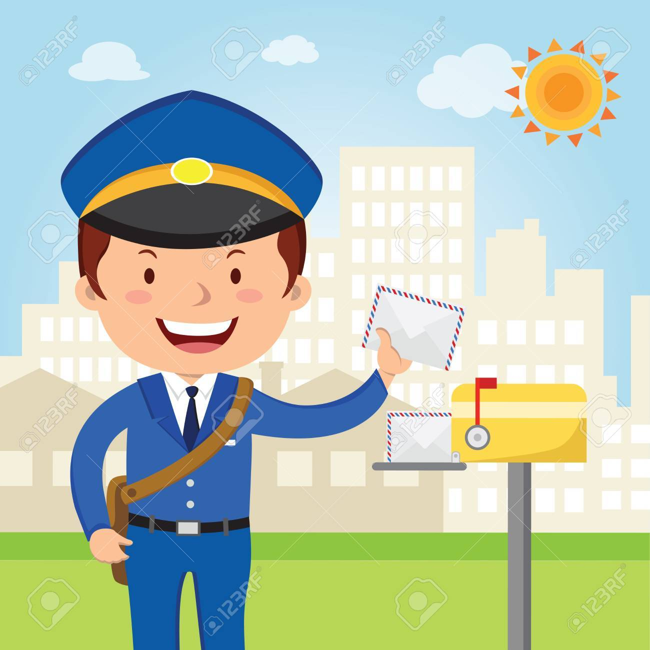 Postman delivery mail. Friendly postman in blue uniform with...