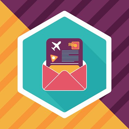 mail Air ticket flat icon with long shadow Clipart Image.