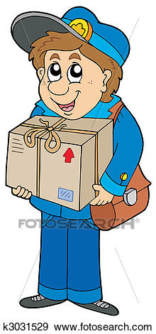 Mailman delivering box Clip Art.