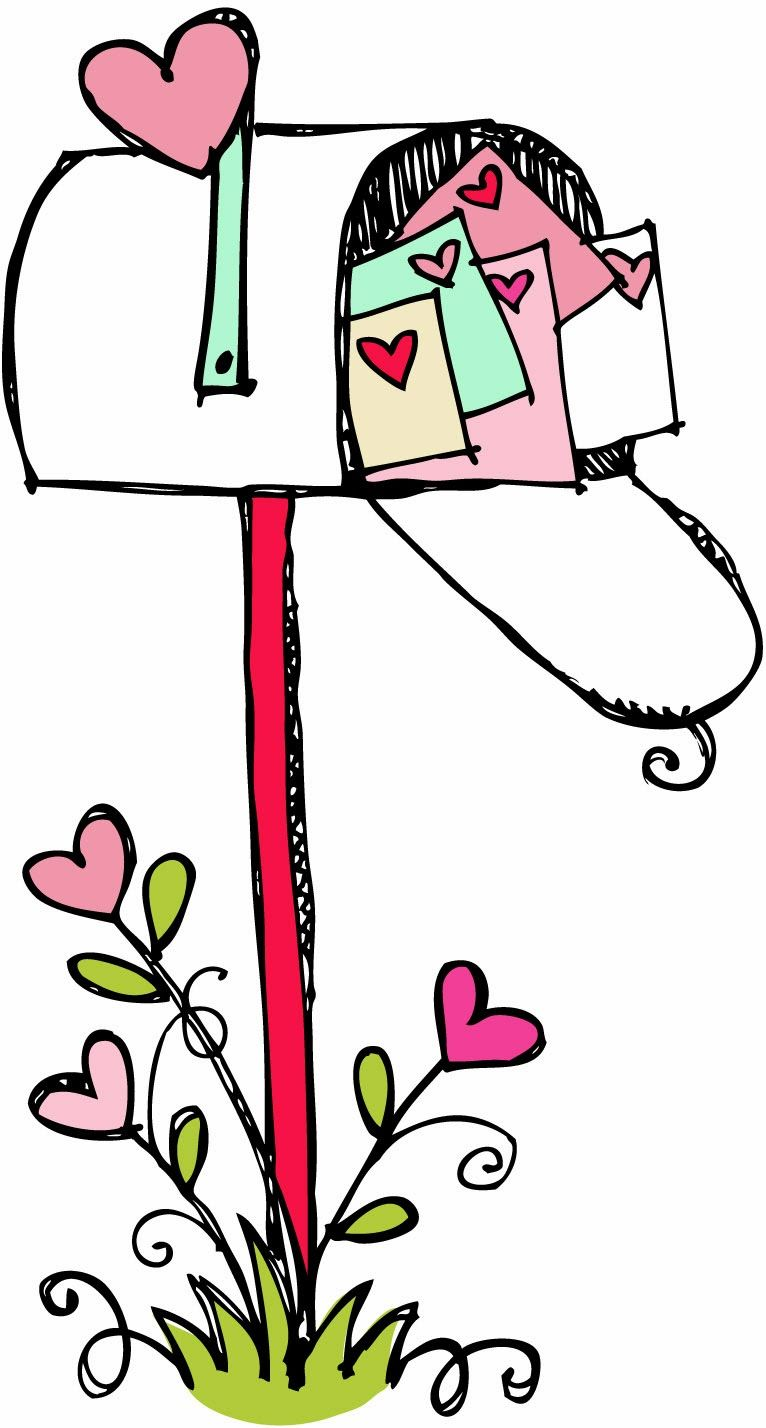 Mailbox Clipart Black And White Happy Valentines Day.