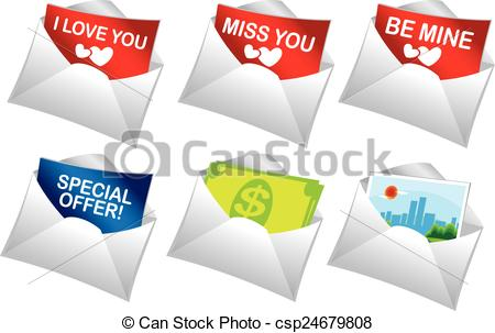 Vector Clipart of Mailer messages.