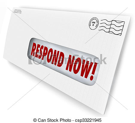 Stock Photo of Respond Now Envelpe Mailer Letter Immediate Reply.