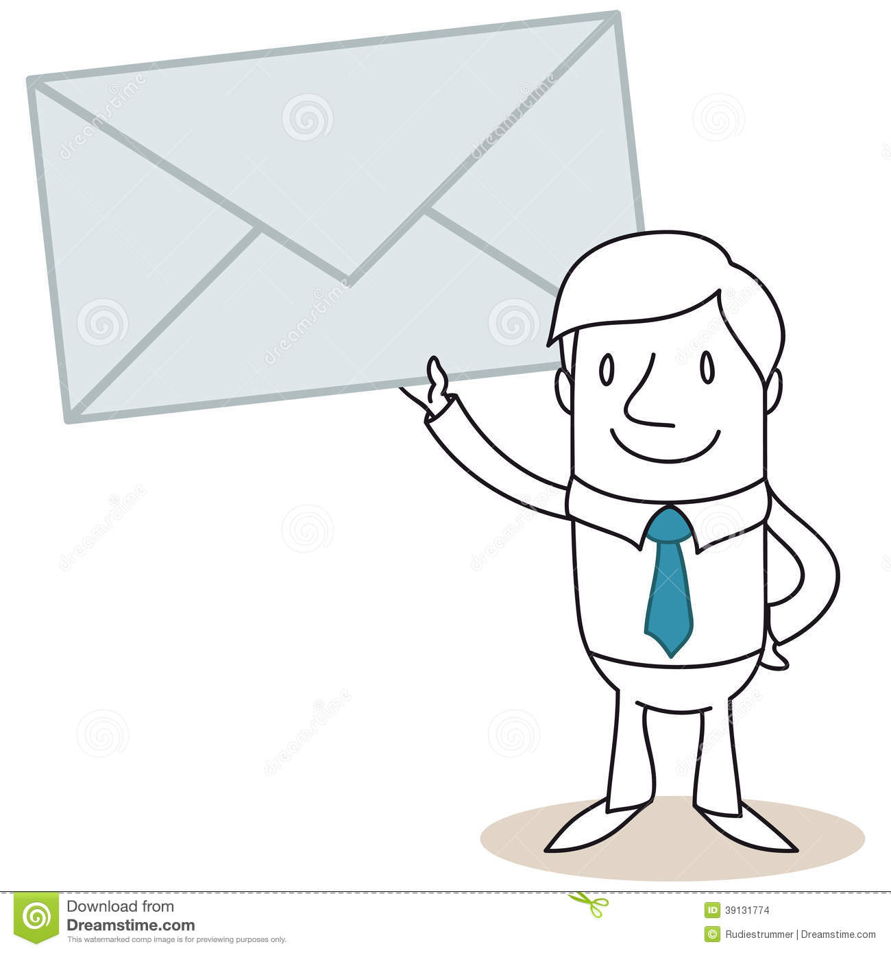 Cartoon Man Holding Mail Stock Vector.
