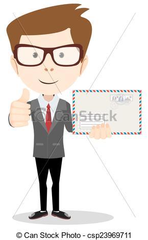 Vector Clip Art of Office worker holding huge mailer envelope.