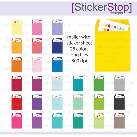 Mailer with Sticker Sheet Icon Digital Clipart in Rainbow Colors.