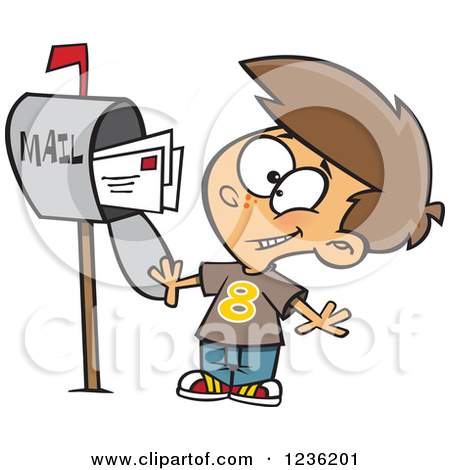 Clipart of a Caucasian Happy Boy Mailing Letters.