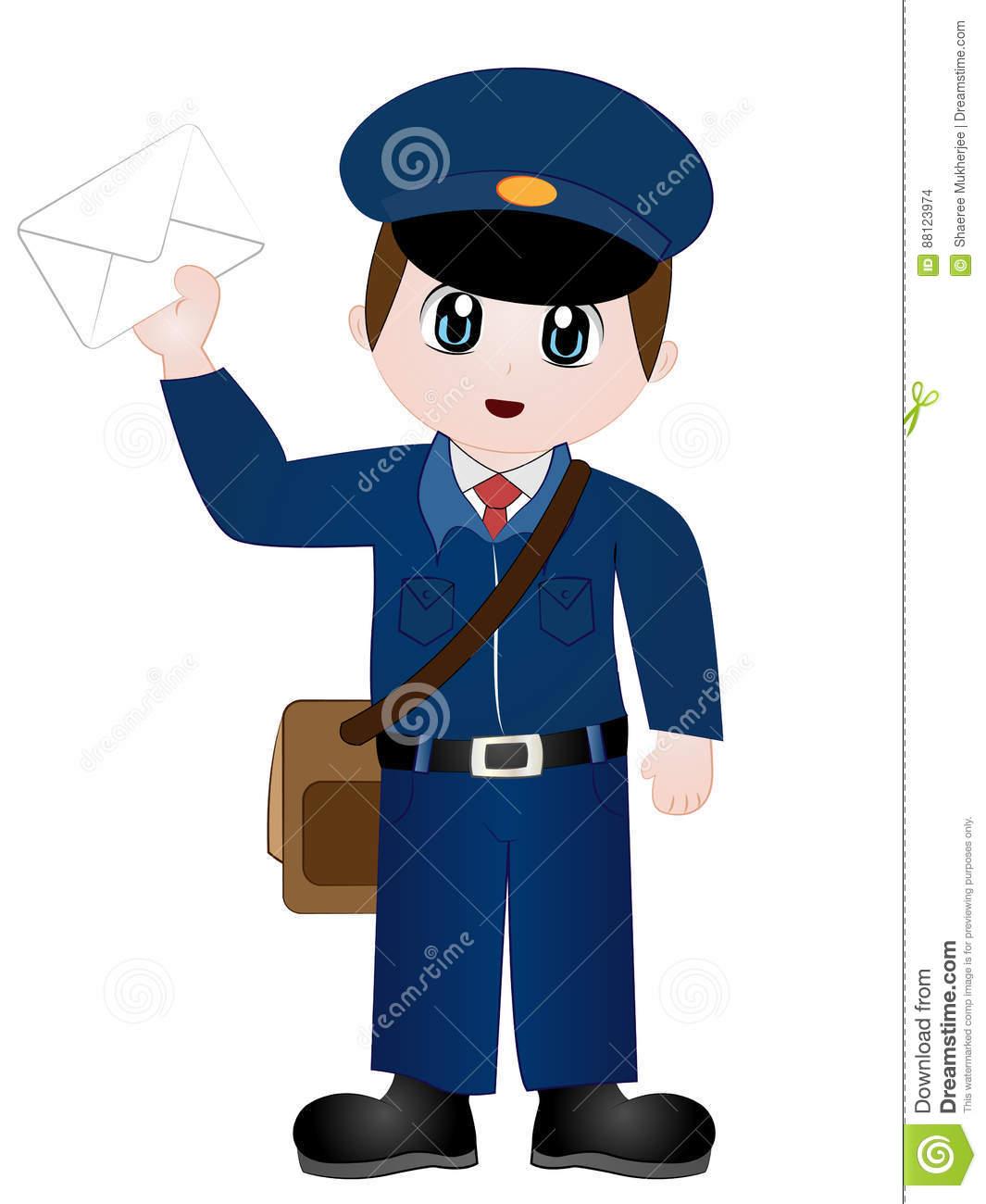 Cartoon Postman Clip Art stock vector. Illustration of.
