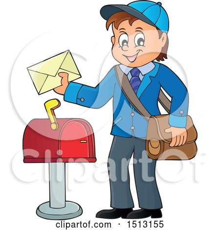 Clipart of a Happy Mail Man Holding an Envelope over a.