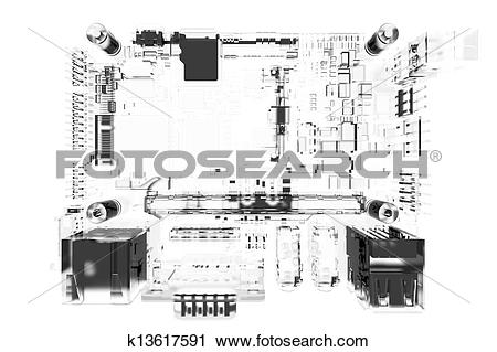 Clipart of CPU main board 3D rendered white transparent k13617591.