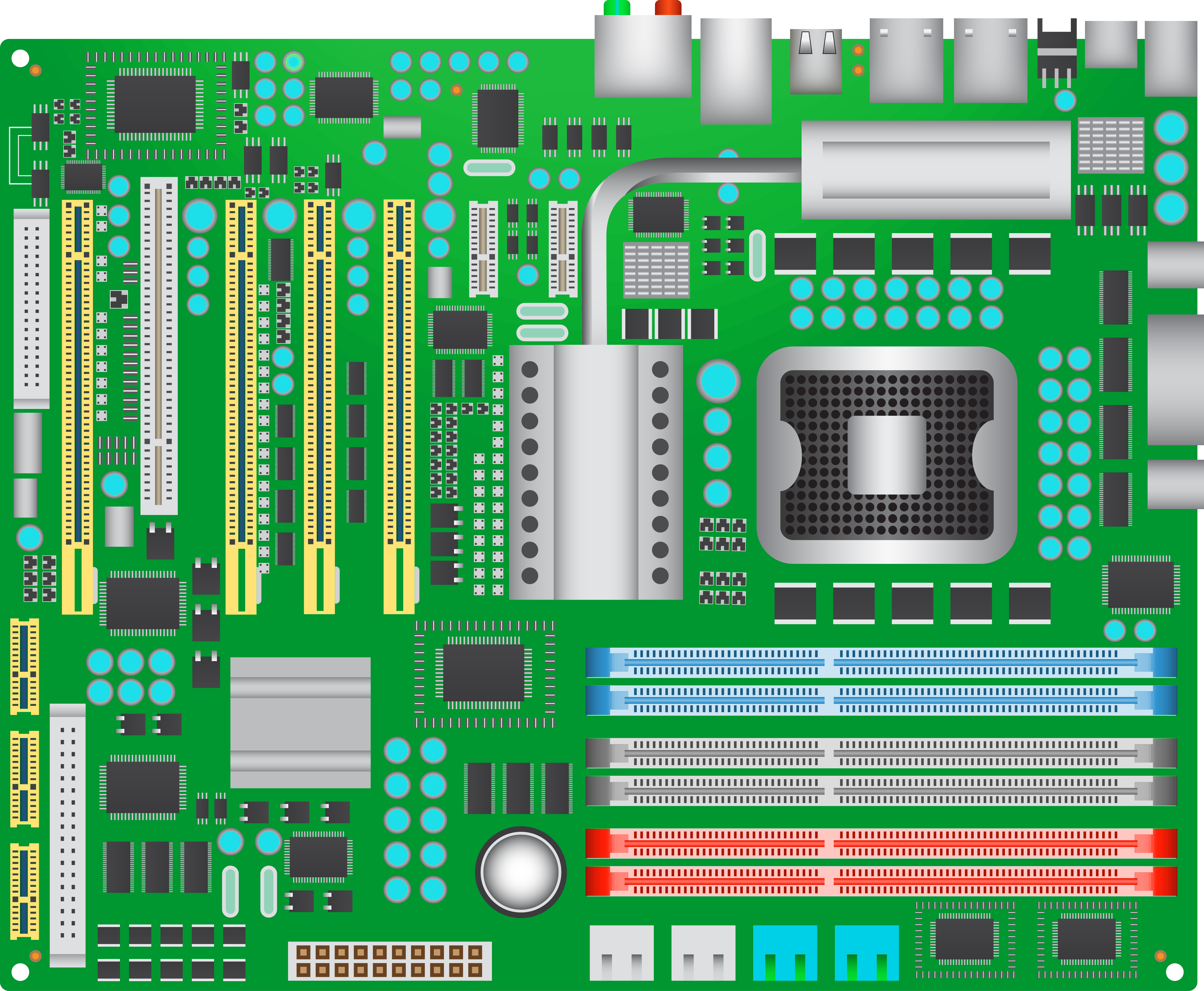 Green Computer Mainboard PNG Clipart.