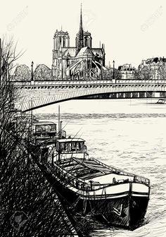 Vector Illustration D'immeubles à Paris France. Clip Art Libres De.