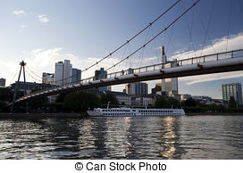 Stock Photography of View on Bridge over Main River in Frankfurt.
