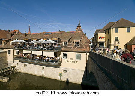 Stock Photograph of Germany, Wuerzburg, Restaurant near Old Main.