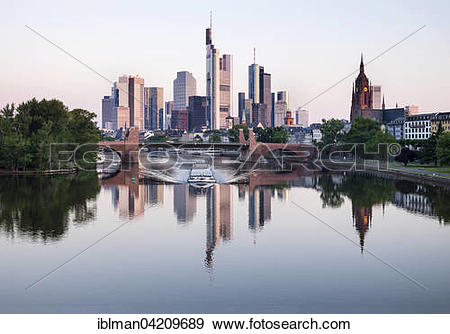 Stock Photograph of Old bridge over the Main, skyscrapers in the.