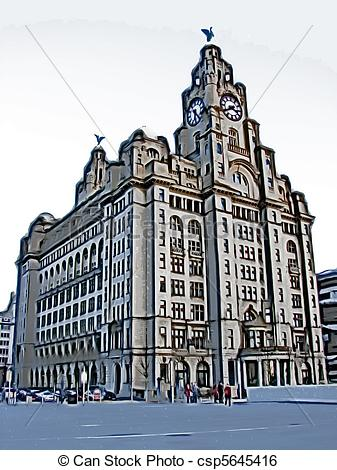 Stock Illustration of Liverpool liver building.