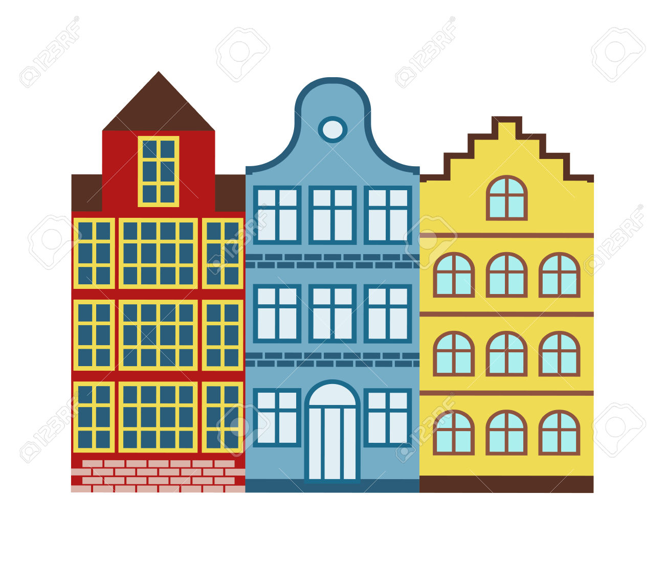 Lovely Detailed European Houses Vector And Old Town Village.
