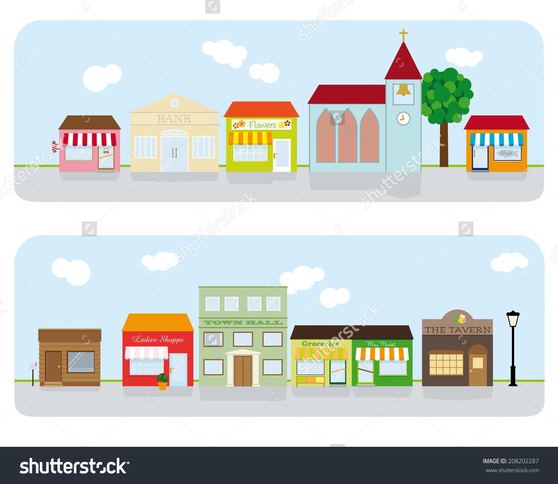 Village Main Street Neighborhood Vector Illustration Stock Vector.