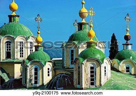 Stock Image of Domes of Main Church Agiou Panteleimonos Monastery.