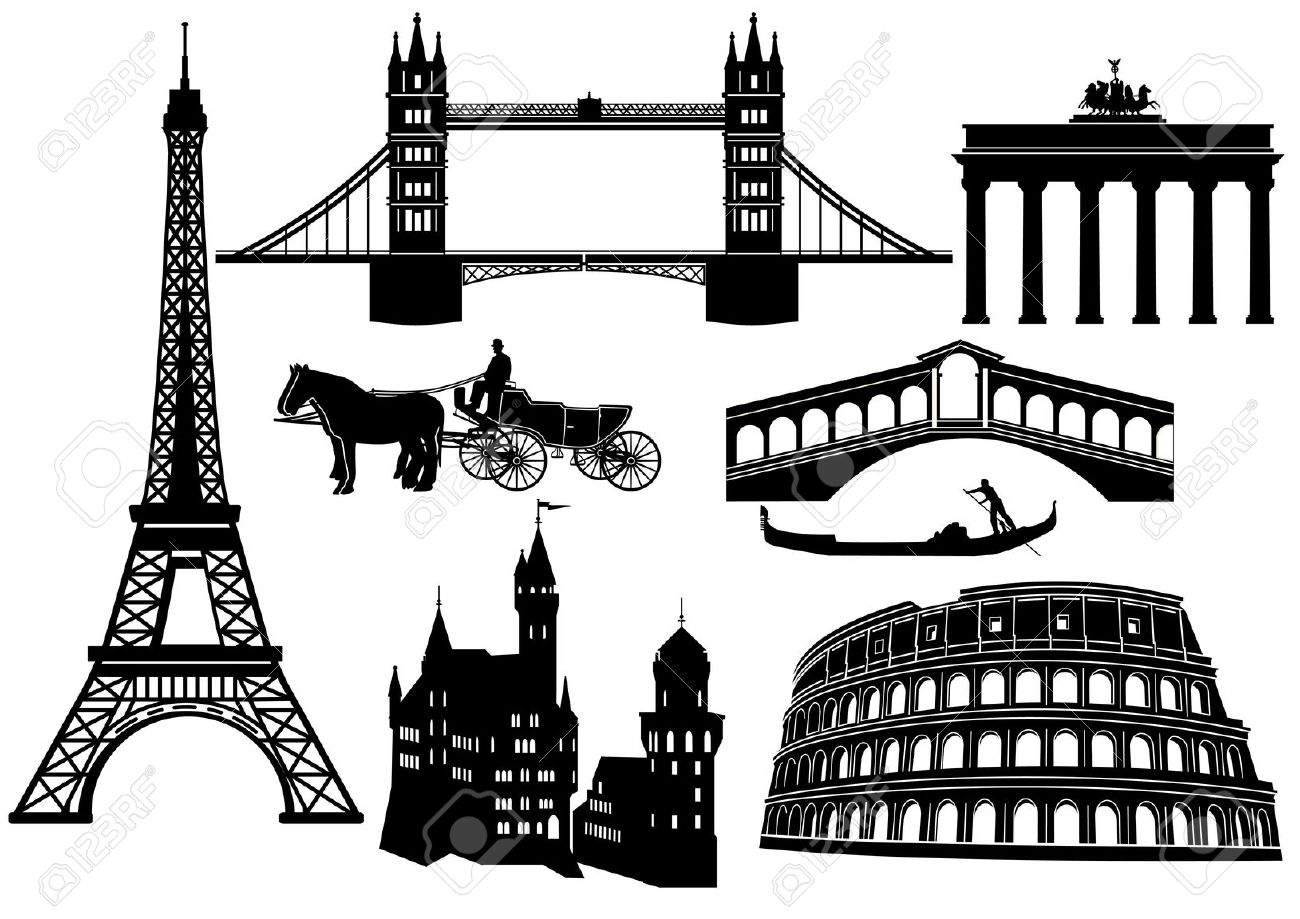 Main Cities And Sights In Europe Royalty Free Cliparts, Vectors.