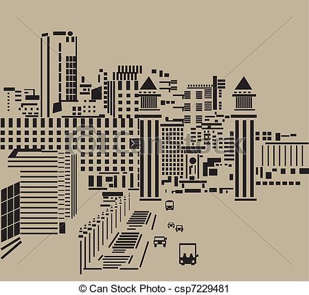 Vector Clip Art of Main street in city..