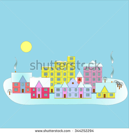 Vector City Illustration Flat Simple Style Stock Vector 330443690.