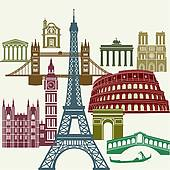 Clip Art of Europe landmarks and main cities k12678838.