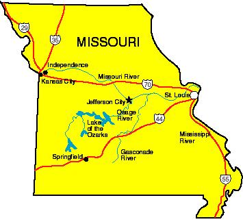 Kansas city missouri to joplin missouri map clipart.